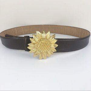 Vintage 90s Leather Belt Gold Sunflower Buckle